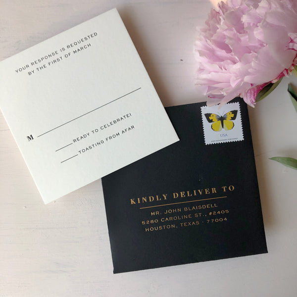 Black RSVP Envelope Foil Letterpress Square Luxury Wedding