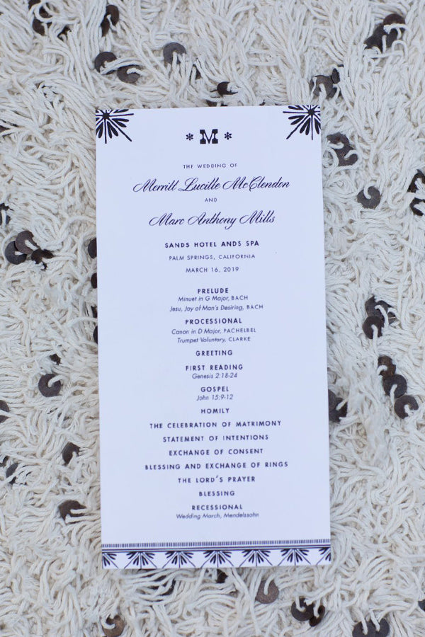 Palm Springs Wedding Program Moroccan Inspiration