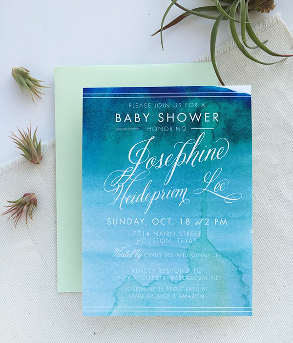 watercolor baby shower inviations