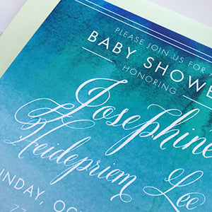 watercolor calligraphy baby shower inviation