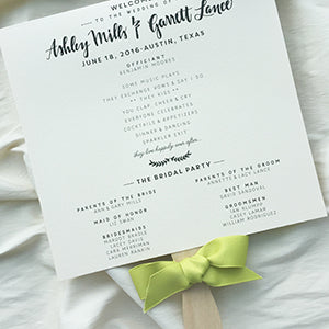 Wedding Fan Program Blush with Ribbon