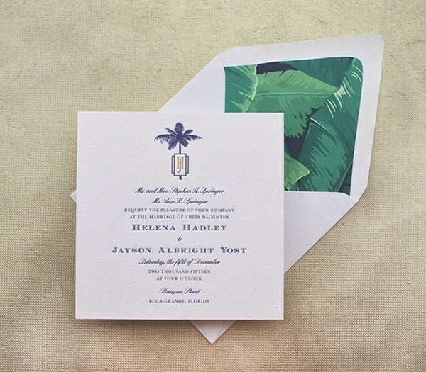 tropical wedding invitation letterpress