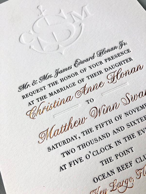Luxury Wedding Invitation Blind Monogram Black Letterpress Copper Foil
