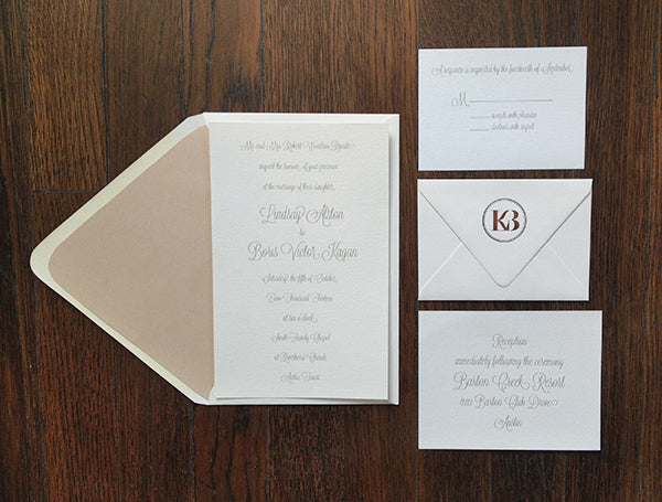 lindsay and boris wanted clean and classic invitations for their austin texas wedding we used luxe cream paper pigment inks with a touch of copper foil - Wedding Invitations Austin Tx