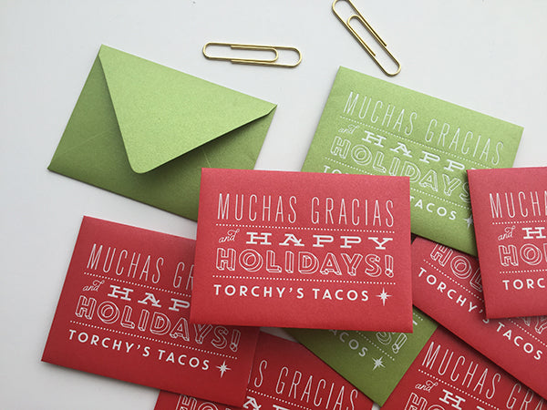 white foil stamp stardream envelope - torchy's tacos