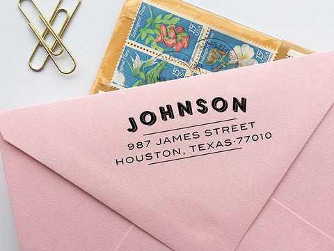 Vintage Typography Return Address Stamp