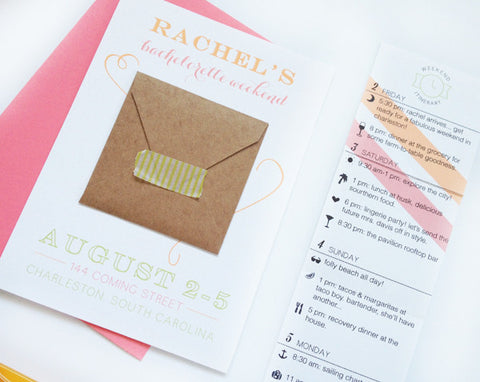 Bachelorette Weekend Invitation & Itinerary #2 (custom colors available!)