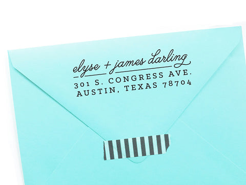 Modern Script + Slab Return Address Stamp