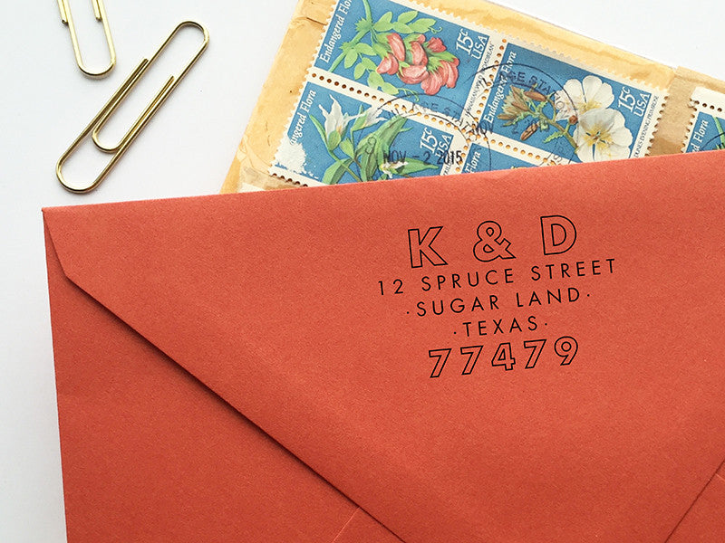 Industrial Typography Return Address Stamp