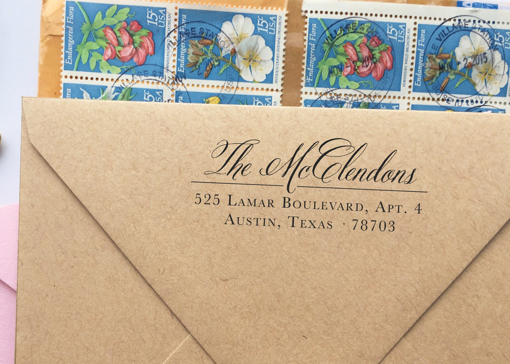 Rustic & Romantic Calligraphy Return Address Stamp
