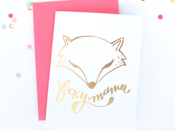 Foxy Mama Gold Foil Greeting Card