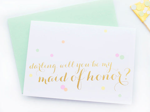 Gold Foil Calligraphy & Confetti Maid of Honor Card