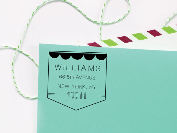Scallop Flag Return Address Stamp
