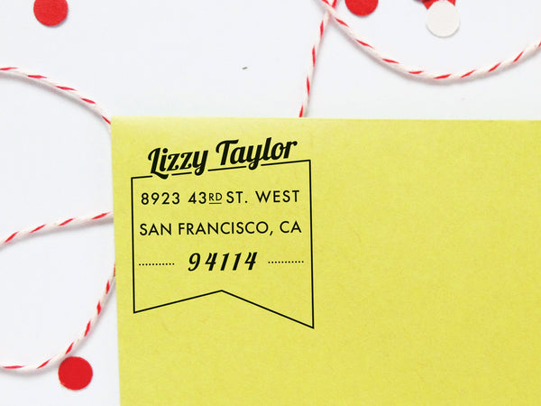 Vintage Ribbon Flag Return Address Stamp