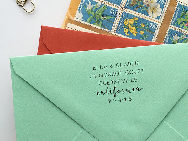 Minimal + Modern with State Calligraphy Return Address Stamp