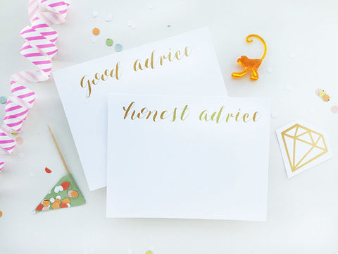 Good Advice/Honest Advice Shower Game - Gold Foil Card Set