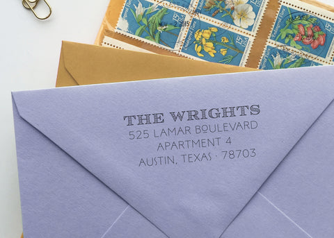 Craftsman-Inspired Art Deco Return Address Stamp