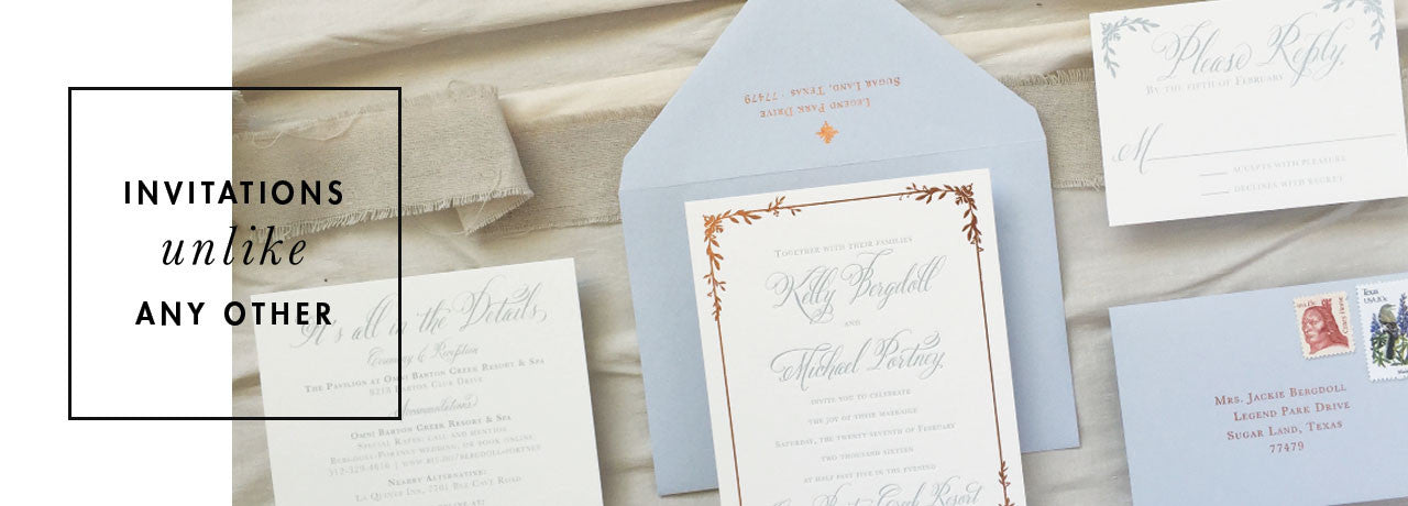 Dusty Blue Copper Foil Wedding Invitation Letterpress