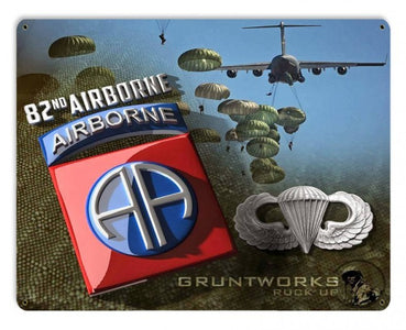 82nd Airborne with Wings Metal Wall Sign