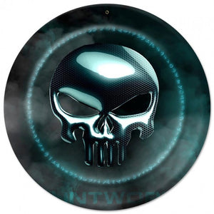 Blue Infidel Skull Metal Wall Sign