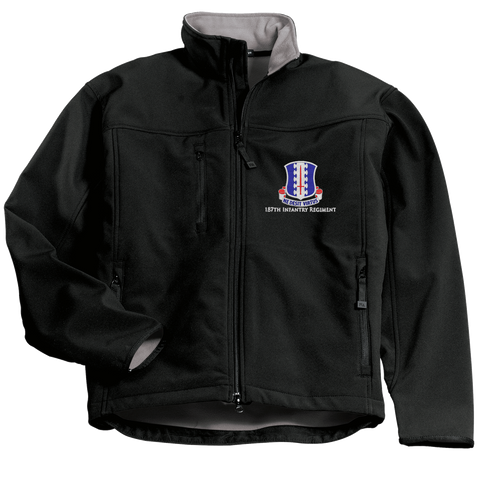 Custom Embroidered 187th Infantry Crest Concealed Carry Soft Shell Jacket