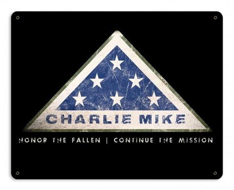 Charlie Mike Metal Wall Sign