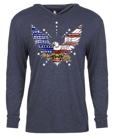 Image of FREEDOM EAGLE-Triblend Hoodie Tee