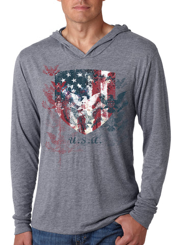 Image of Freedom Shield -Triblend Hoodie Tee