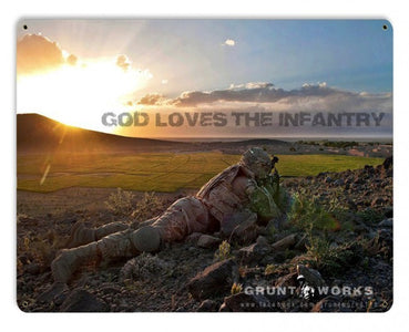 God Loves The Infantry Metal Wall Sign