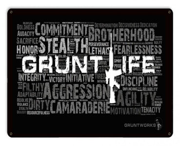 Grunt Life Collage Metal Wall Sign
