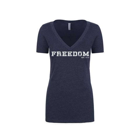 FREEDOM- EST 1776- WOMEN'S DEEP V-NECK
