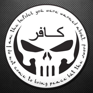 "3""-5""-8"" INFIDEL DECAL ROUND (WHITE)"
