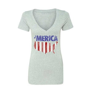 'MERICA- CONUS STARS 'N BARS WOMEN'S DEEP V-NECK