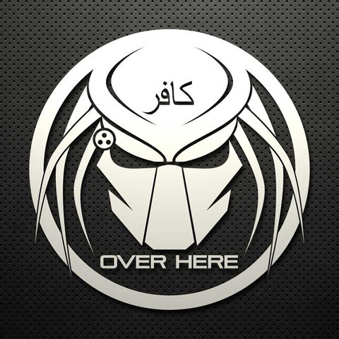 "3"" PREDATOR INFIDEL - OVER HERE DECAL (ROUND)"