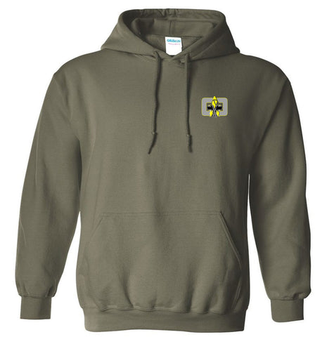 G4G Embroidered Hoodie -grey-yellow logo