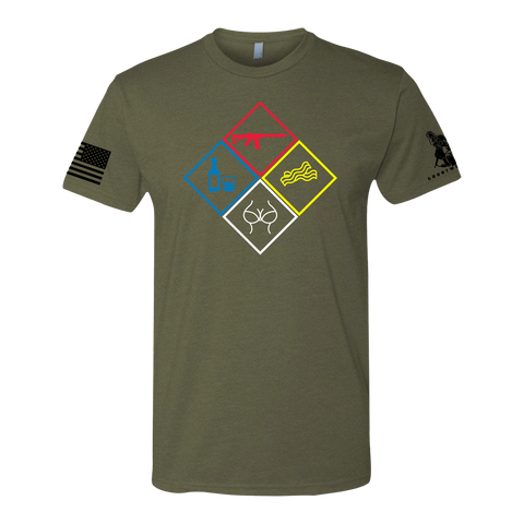 Image of GRUNTWORKS HAZARD PLACARD SHIRT (MULTIPLE COLORS AVAILABLE)