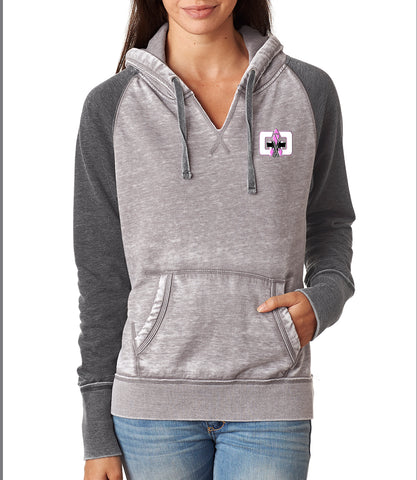 G4G Embroidered Zen Contrast Pullover Hood-Pink Logo