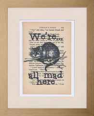 We're all mad here Cheshire Cat quote print blue