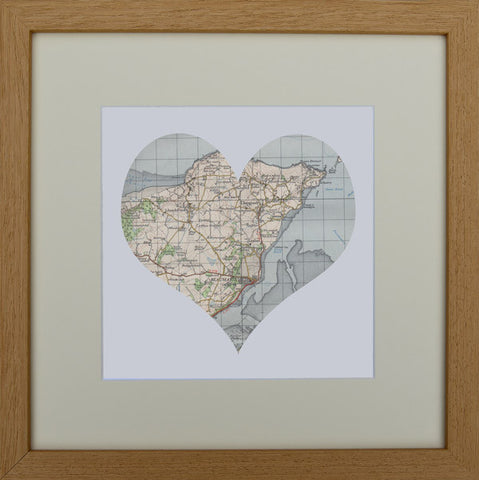 Vintage map heart: Beaumaris