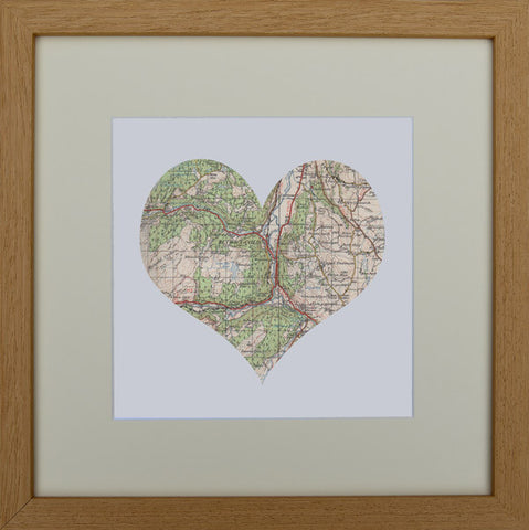 Vintage map heart: Betws-y-Coed