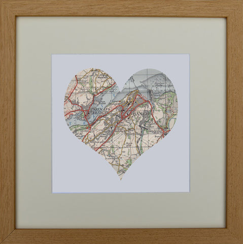 Vintage map heart: Menai Bridge & Bangor
