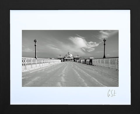 'Llandudno Pier, deep in snow' print (black & white)