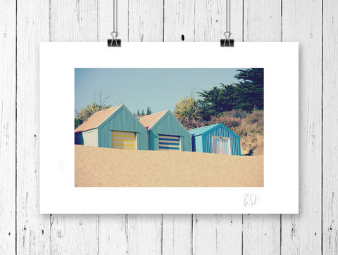 Retro beach huts print