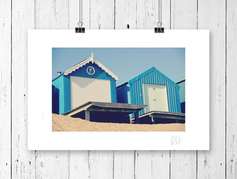 Retro blue beach huts print
