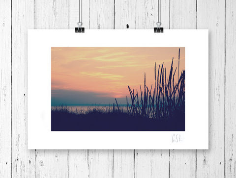 Retro dunes at sunset print
