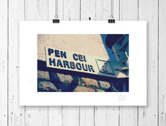 Retro Welsh pen cei harbour signpost print