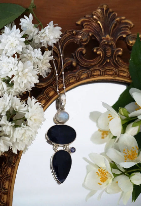 The Belladonna Pendant - Sodalite, Rainbow Moonstone and Iolite