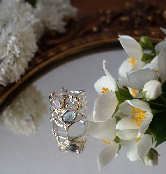 Lorelei's Ring -  Moonstone & Aquamarine