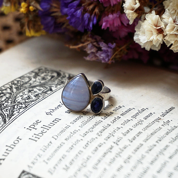 Iris Ring - Blue Lace Agate and Iolite Ring