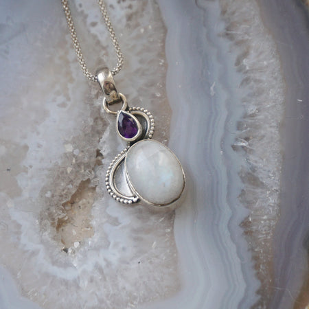 Beaded Amethyst and Moonstone Drop